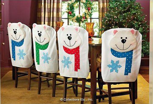 новогоднее украшение стульев - чехлы для стула