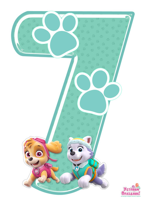 paw patrol birthday number 7 printable with sky and everest