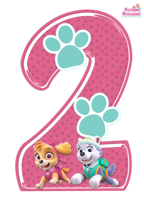 paw patrol birthday number 2 printable with sky and everest