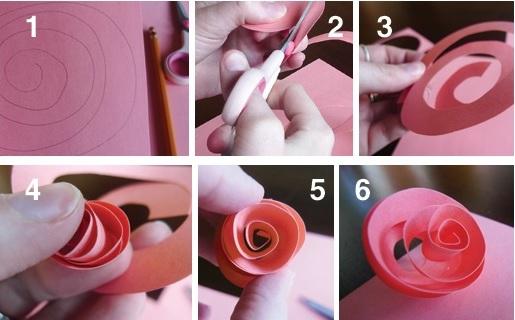 как сделать бумажную розу из спирали