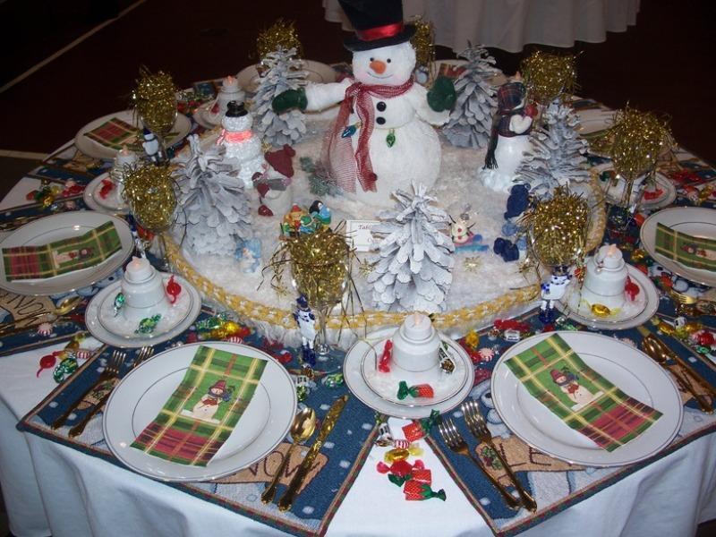 Зимняя сервировка стола «Снеговики»