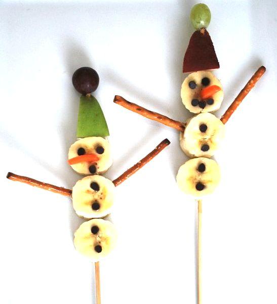 снеговики из бананов рецепт