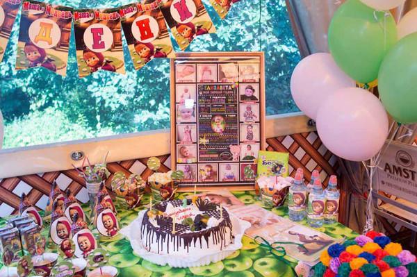 1 годик Елизавете в стиле «Маша и Медведь» оформление дня рождения фото