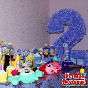 Артему 2 года в стиле Малышарики в сиренево-желтом цвете фотографии со дня рождения
