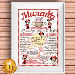 Постер достижений Минни Маус в красном цвете шаблон psd файл