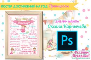 Постер достижений Принцессы на годик psd шаблон в слоях скачать бесплатно