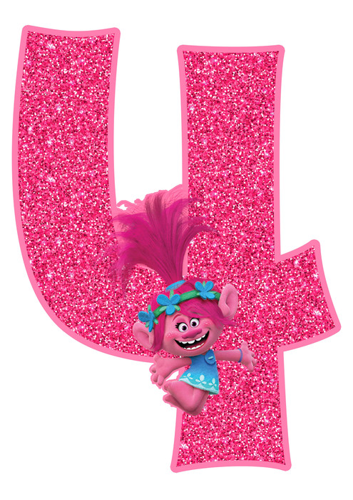 Poppy number 4 Trolls Birthday Party Printable