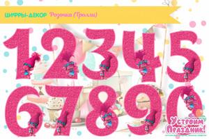 Декор бумажные цифры 0-9 с Розочкой из м/ф Тролли скачать шаблоны на день рождения