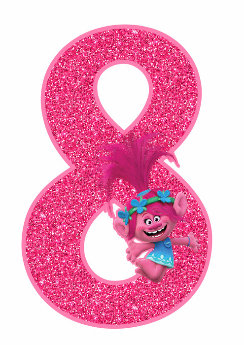 Poppy number 8 Trolls Birthday Party Printable