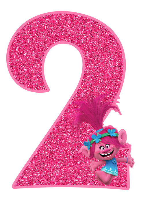 Poppy number 2 Trolls Birthday Party Printable