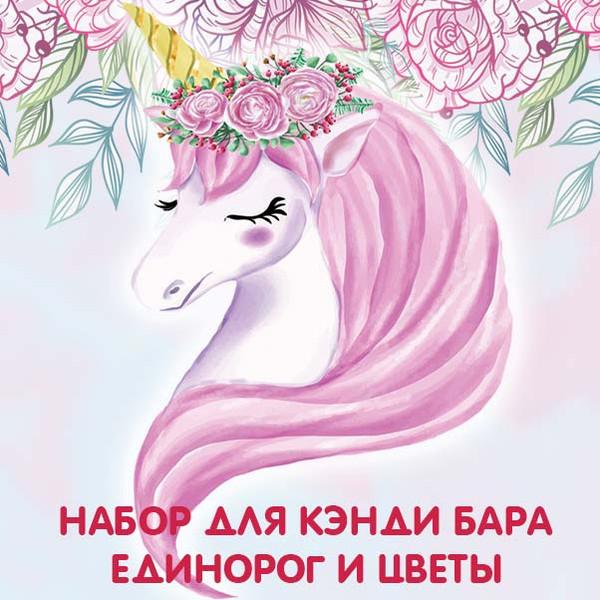 Набор для кэнди бара Единорог и цветы на день рождения скачать