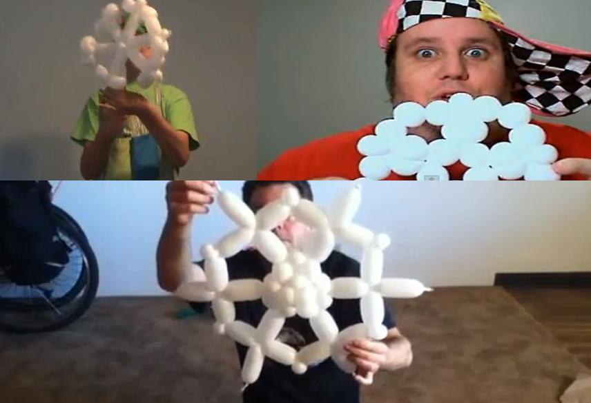 Снежинка из воздушных шариков (как сделать)