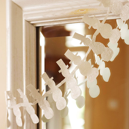 новогодняя гирлянда снеговики