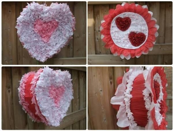 Пиньята «Сердце» и пиньята с сердечками