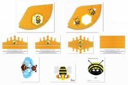 Набор колпаков, масок и корона для дня рождения «Пчелка» скачать бесплатно