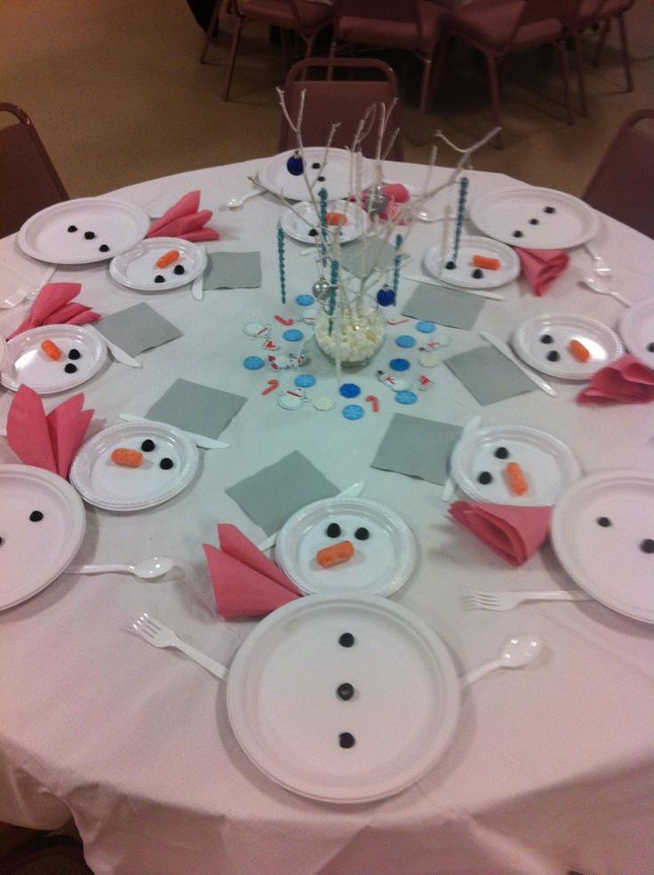 сервировка со снеговиками для детского зимнего и новогоднего стола
