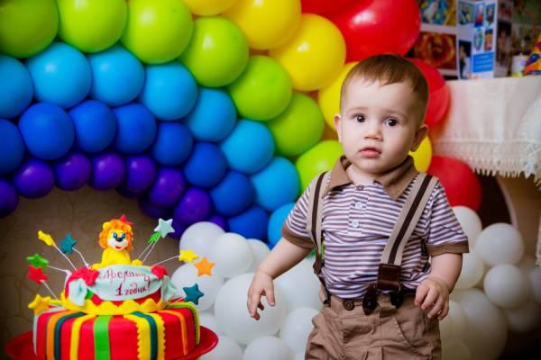 Оформление в стиле «Радуга» : 1 годик Арслану
