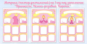 Постер (метрика) в стиле «Принцессы» на 1 год для самостоятельного заполнения